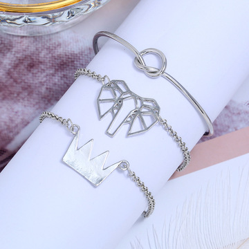 Fashion Elephant Bracelet Bransoletka Crown Bracelet Knot Set