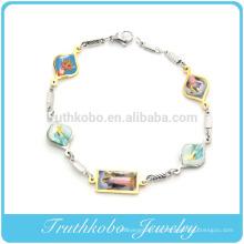 TKB-B0095 italiano charme pingente saints medalha 18 imagens coloridas pulseira