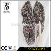 long polyester scarf voile fabric geometric pattern lightweight scarve with special tassel