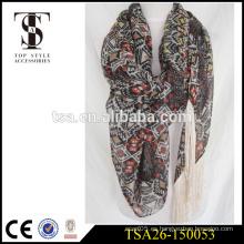 Bufanda larga del poliester tela de la gasa patrón geométrico bufanda ligera con la borla especial
