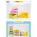 3-layers plastic mini drawer makeup organizer for desktop