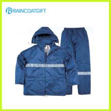 Impermeable de poliéster PVC ropa de trabajo de seguridad reflexivo (Rpy-060)