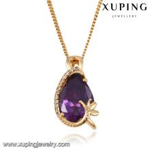 32683 moda elegante olho lágrima de cristal pingente de colar de jóias em ouro-chapeado