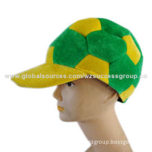Soccer Hat, Made of Polyester Imitation Velvet, Various Designs and Shape are Available