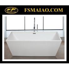 Baignoire de salle de bains en acrylique à bords fins Rectangle blanc brillant (9016)