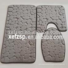 Conjunto de tapete de banheiro de microfibra de design 3D