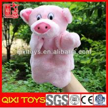 juguete de felpa de marioneta de mano de cerdo animal