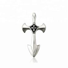 33638 xuping moda jóias de aço inoxidável arma preta cor elegante pingente de cruz
