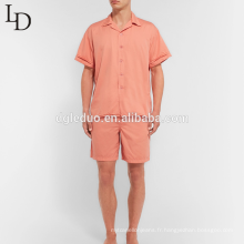 Vente chaude lavé coton été deux pièces à manches courtes hommes pyjamas