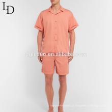 Venda quente de algodão lavado verão duas peças de manga curta pijama dos homens