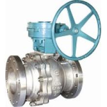 Válvula de esfera flutuante com operação de engrenagem