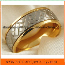 Shineme High Quality Jewelry Titanium Carving 18k Gold Ring (TR1860)