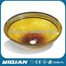 Gold Color Beautiful Painting Glass Bathroom Bowl