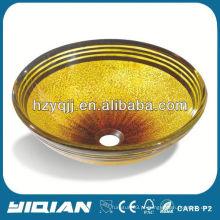 Cor de ouro bela pintura tigela de banheiro de vidro