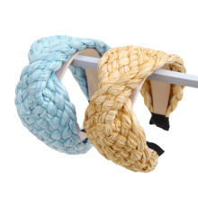 Bandeau Opaska Straw Hyperbolic Wide Braid Headband Solid Hairband Ethnic Sweet for Women Girl Korean Fashion Hair Accessories Lady Gift Bulk