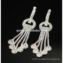 2015 Förderung-Braut elegante silberne Tropfen-Kristallbolzen-Ohrringe