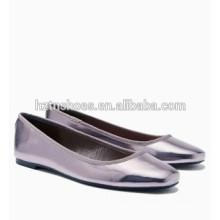 Venta al por mayor de zapatos de las señoras de plata de moda toe ballet planos para las mujeres