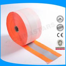 Fluorescente laranja de alta visibilidade lavável fita reflexiva webbing