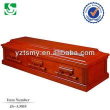 Buena calidad sólido rojo cereza chapa de madera MDF del ataúd