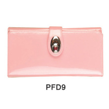 Pink satin hand bag with metal buckle