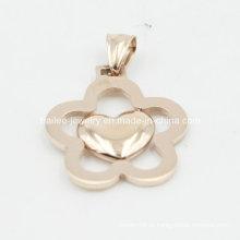 Custom flor de aço inoxidável moda jóias pingente