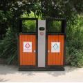 Cubo de basura de acero-madera al aire libre separado (C6600)