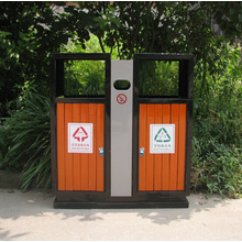 Steel-Wood Outdoor Separate Garbage Bin (C6600)