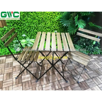 Easy Carry Folding Colorful Outdoor Furniture Table Acacia Wood Metal Frame