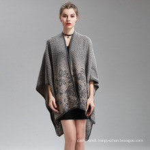Womens Cashmere Feel Alike Fancy Cape Stole Poncho Shawl (SP293)