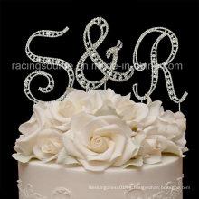 Rhinestone inicial de la letra de la vendimia a tope de la boda Z topper para la decoración de la torta