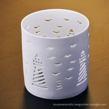 Tower and Seagull Engraved Ceramic Holders