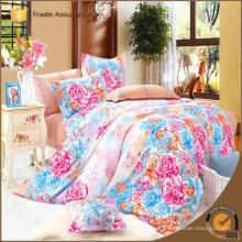 Design bordado e impresso puro algodão conjunto de cama de luxo