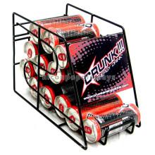 Productos de licor de venta al por menor de la tienda de la encimera Negro de metal en polvo de alambre de publicidad 12 Cerveza Puede Display Racks