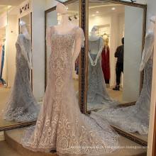 LS14880 Cinza borda rendas maduras sem meninas sexy foto primeira roupa coreana vestido de noite
