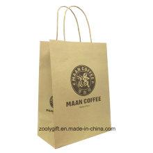 Natural Brown impressão do logotipo Kraft Carrier Gift Bag com alça torcida