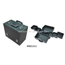 Cuero del PVC, caja de belleza con 6 bandejas dentro del balanceo del fabricante de China