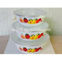 3Pcs enamel mash and serve bowl with SS rim