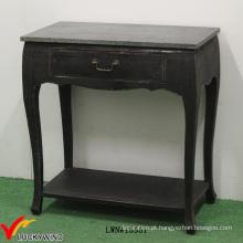 Gaveta de madeira maciça pequena mesa de console preto