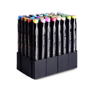 40colors Dual Tips Design Permanent Marker Pen Set With Two Fineline Broad Tips For School Art Supplies