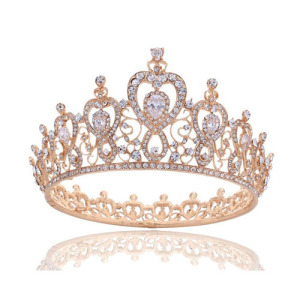 Full Round Pageant Queen Crowns In Rose Gold Color