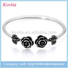 Bracelet en argent thaïlandais fleur charme rose papillon 925 bracelet en gros alibaba