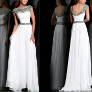 2014 New Fashion White Beaded Cap Sleeve Sexy Gown Open Back Chiffon Formal Party Evening Dress Long Prom Dresses