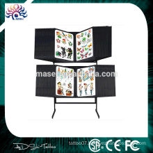 2015 New invention elegant cosmetic beauty salon tattoo flash rack, professional 56 double side panes tattoo display stand shelf
