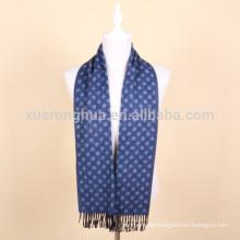 Blaue Farbe Jacquard Wolle Schal für Männer