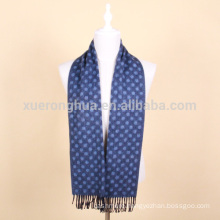 Blue color jacquard wool scarf for men