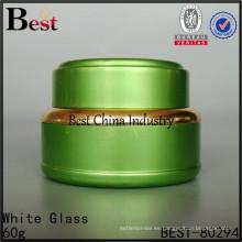 Frascos de aluminio verde, tarro de aluminio colorido 60g, envase cosmético al por mayor, 2 muestras gratis, en China