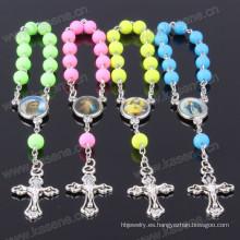 Hn15D105 Acceptable Custom Católica hecha a mano de cristal Cruz Rosario Pulsera