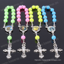 Hn15D105 Acceptable Custom Catholic Handmade Glass Cross Rosary Bracelet