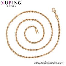 44134 atacado simples senhoras finas jóias 18 k cor de ouro trançado em forma de colar de corrente