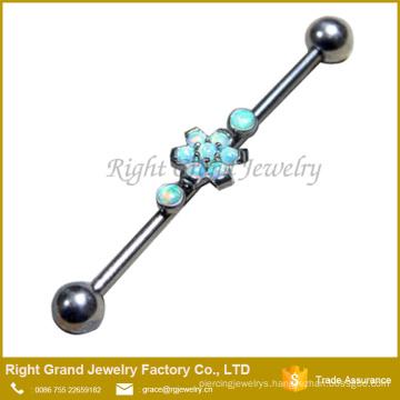 316L Surgical Steel White Opal Flower Industrial Barbell Piercing 38mm